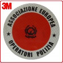 Adesivo 3M Per Paletta Rosso A.E.O.P. Associazione Europea Operatori di Polizia Modello 2 Art.R0013