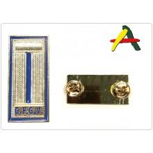 Alamari Mostrine Camicia cm 2x4 Fondo Oro Scritta Blu G.P.G.V. Agri Ambiente Art.NSD-AGRI-8