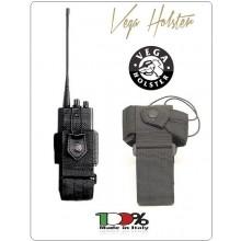 Porta Radio Nastro Universale Regolabile con Sistema di Sgancio dal Cinturone Nero Vega Holster Italia Art.2R01