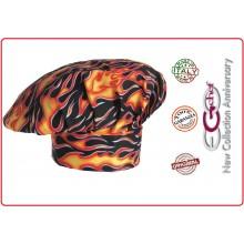 Cappello Cuoco Chef  EGO CHEF Italia Flames Fiamme Inferno  Art.7000110A