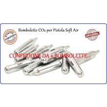 Bombolette CO2 per Pistole Soft Air Professionale Confezione 5 bonbolette  Art.C5