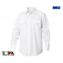 Camicia Bianca Manica Lunga per Gradi Modello Militare Con Spalline FAV Italia  Carabinieri Polizia Vigilanza GPG IPS Art.CAM-B-ML