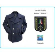Giacca Giaccone Cappotto  Vintage Blu Bottoni Oro + Patch Ricamata Logo Aeronautica Militare Frecce Tricolori Italiana Originale Art.CAP-MAR-2