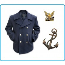 Giacca Giaccone Cappotto Marina Marinaio Vintage Navy Pea Coat Marine Army Blu Bottoni Oro  Art.10578000