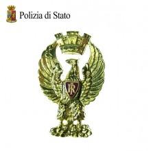 Fregio Metallo Berretto Tesa Ordinanza  Polizia di Stato Art.FAV-F-PS