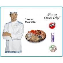 Giacca Cuoco Chef Malaga Bianca Fish + Rifiniture Ristorante Specializzato Pesce Isacco Art.059920