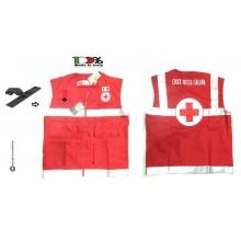 Gilet Multitasche Rosso Fluò Croce Rossa Italiana Soccorritore Nuovo Capitolato Schiavi Art.SS-J-CRI