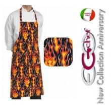 Grembiule Cucina Pettorina con Tascone cm 90x70 Flames Art.6103110A