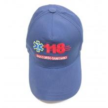 Berretto Cap Baseball Blu Nevy Soccorso Sanitario 118 Logo Ricamato Soccorritore Emergenza Art. EUB604