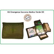 Kit Medico di Primo Soccorso Kit First Aid 2 Verde OD Esercito Marina Aeronautica Emergenza Art.01416
