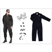 Tuta da Aviatore Elicotterista Deltaplano Paracadutismo  S.W.A.T. Security Colore Nero  Art.115262-N