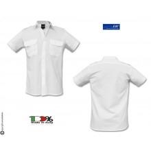 Camicia Bianca Manica Corta Modello Militare Con Spalline FAV Italia Polizia carabinieri Vigilanza GPG IPS Art.FAV-C-MCB