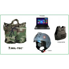 Sacca Borsa Zaino Portacasco Porta Casco Porta PC Porta Antiproiettile Woodland Esercito Italiano Marina Militare Aeronautica Mil-Tec Art.13826020