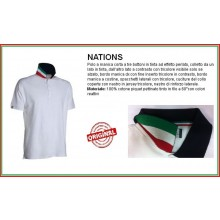 Polo Manica Corta Bianca Modello Italia Collo Tricolore Riccione White Flag Italy Art.989126