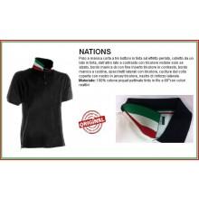 Polo Manica Corta Nero Black Modello NATION  Italia Collo Tricolore Art.NATION-2