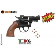 Pistola a Salve Guancette in Legno  Rivoltella Scaccia Cani Starter Sonoro  Revolver Olimpic 6 mm Art. RP030615
