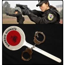 Paletta Segnaletica Modello Polizia Entrambe Stampate Rosso + Rosso  con Stampa e Logo Guardie Giurate Art.R0075