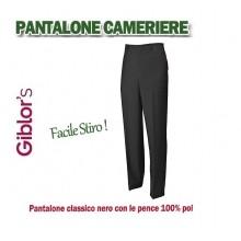 Pantalone Professionale Anti Macchia Nero Facile Stiro Cameriere Sala Hotel Reception Bar Ristorante Giblor's Art. 90