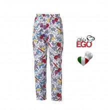 Pantalone Pantaloni Pants Hose Coulisse Cuoco Chef Professionale Ego Chef Italia Fantasy Art. 3502102A