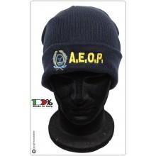 Berretto Zuccotto Papalina Invernale Blu Royal  A.E.O.P. Ass. Europea Operatori di Polizia con Ricamo e Scritta  Art.TUS-21