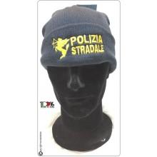 Berretto Zuccotto Papalina Invernale Blu Royal Polizia Stradale con Ricamo e Scritta  Art.TUS-28