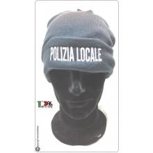 Berretto Zuccotto Papalina Watch Cap Invernale Nero con Ricamo Polizia Locale Art.TUS-43