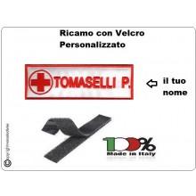 Coppia Patch Targhette con Velcro Croce Rossa Italiana CRI Personalizzate  con Nome e Qualifica cm12 x 4 BIANCA BORDO ROSSO Art.NSD-CRI