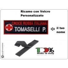 Coppia Patch Targhette con Velcro Croce Rossa Italiana Personalizzate con Nome e Qualifica  cm12 x 4 Fondo Blu Art.NSD-CRI-BLU
