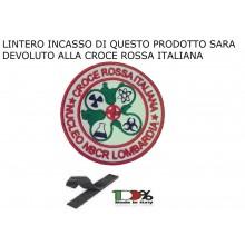 Patch Toppa Omerale Ricamata con Velcro Croce Rossa Italiana Soccorsi Speciali NBCR Lombardia Coronavirus COVID19 cm 8.00 DAE INCASSO DEVOLUTO ALLA CRI Art.CRI-COV