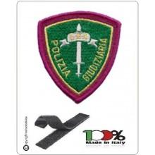 Patch Toppa Polizia di Stato Giudiziaria Verde Ricamata con Velcro  Art.EU533