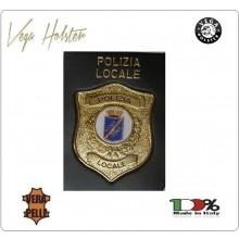Placca con Supporto Cuoio Da Inserire Al Portafoglio Polizia Locale 1WG Vega Holster Italia Art. 1WG-113