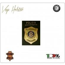 Placca con Supporto Cuoio Da Inserire Al Portafoglio Polizia Amministrativa 1WG Vega Holster Italia Art.1WG-108