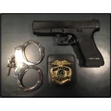 Placca Da Cintura in Cuoio con Placca Metallo Modello Polizia Americana Guardia Giurata Vega Holster Italia Art.1WA73