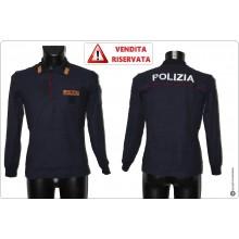 Polo Operativa Manica Lunga POLIZIA DI STATO Cotone 100% VENDITA RISERVATA Art.POLO-PSL