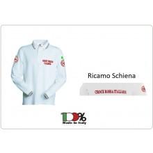Polo Bianca Croce Rossa Italiana CRI Nuovo Capitolato Manica Lunga Completamente Ricamata Art.SS-P-CRIML