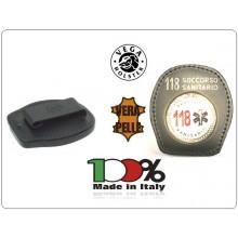 Placca Da Cintura in Cuoio con Placca Metallo 118 Soccorso Sanitario Vega Holster Italia Art.1WA55