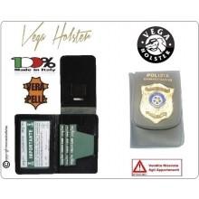 Portafoglio Portadocumenti in Vera Pelle con Placca Polizia Amministrativa VENDITA RISERVATA Vega Holster Italia Art.1WD108