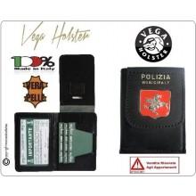 Portafoglio Portadocumenti in Pelle con Placca Polizia Municipale Toscana Vega Holster Italia   Art.1WD24