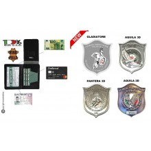Portafoglio Portadocumenti GPG I.P.S. Placca Estraibile Guardia Particolare Giurate Incaricato di PS New  Gladiatore Pantera Aquila Art. NEW-GLADIATORE