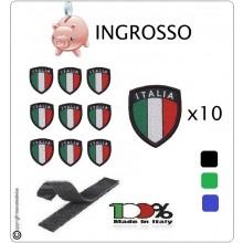 Scudetto Patch Ricamato Italia con Velcro Blu Verde Nero INGROSSO 10 pezzi Art.ING-ITALIA