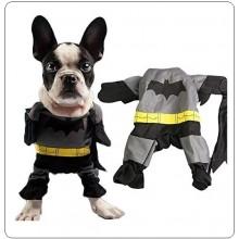 Vestito Completo + Mantello Gatto Cucciolo di Cane Cotone Batman Festa Art.BATMAN