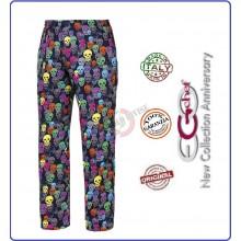 Pantalone Pants Hose Culisse Cuoco Chef Professionale Ego Chef Italia  Color SKULLSCOT Teschi Colorati Art.3502135A