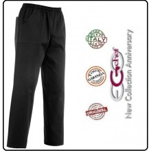 Pantalone Coulisse Tasche Toppa Unisex Neri Dark Ego Chef Italia Art.3502002c